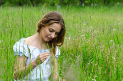 Young beautiful woman sitting in meadow grass Stock Images