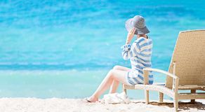 Woman enjoying vacation Stock Images