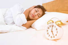 Young beautiful woman sleeping Stock Photos