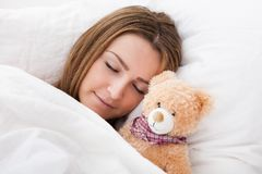 Young Beautiful Woman Sleeping Stock Images