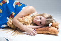 Young beautiful woman sleeps Royalty Free Stock Photo