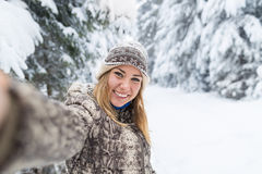 Young Beautiful Woman Smile Camera Taking Selfie Photo In Winter Snow Forest Girl Outdoors Royalty Free Stock Images
