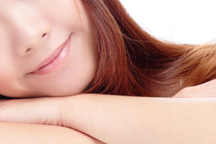 Young beautiful woman smile lips Stock Photography