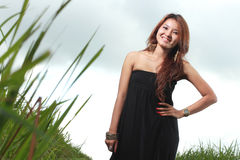 Young beautiful woman smiling outdoor Royalty Free Stock Image