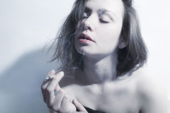 Free Young Beautiful Woman Smoking  Cigarette Stock Photography - 92959702
