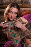 Young beautiful woman with snake. Stock Photo