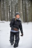 Young beautiful woman in the snow Stock Images