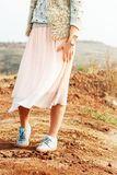 Young Beautiful Woman in Soft Pink Skirt, toned Stock Photography