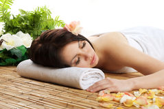 Young beautiful woman in a spa Royalty Free Stock Photography