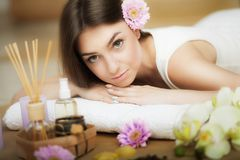 Young beautiful woman on the spa. Aroma oil and butter. Nice look. The concept of health and beauty. Better In the spa salon. Young beautiful woman on the spa royalty free stock photos