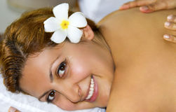 Young beautiful woman in spa Stock Images