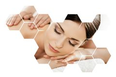 Young and beautiful woman in spa. Collage with honeycomb mosaic tiles. Massaging and healing concept. Stock Images
