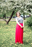Young beautiful woman in spring blossom trees Royalty Free Stock Image