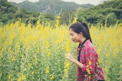 Young beautiful woman standing in the flower field enjoyment. Young beautiful woman standing in the flower field enjoyment background Stock Photography