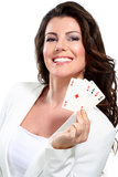 Young seductive woman play poker Royalty Free Stock Images