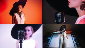 4 in 1 - young beautiful woman standing on the stage and singing in retro microphone. Collage