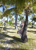 Young beautiful woman stands near palm tree Royalty Free Stock Images