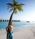Young beautiful woman stands near palm tree,portrait against the tropical sea Royalty Free Stock Photos