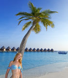 Young beautiful woman stands near palm tree in a sunny day, Maldives Royalty Free Stock Photos
