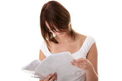 Young beautiful woman (student) learning Stock Photo