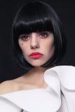 Young beautiful woman with stylish bob haircut and cosplay conta Royalty Free Stock Image