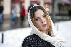 Young beautiful woman in stylish dark gray wool coat Royalty Free Stock Images