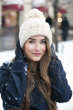 Young beautiful woman in stylish dark gray wool coat Royalty Free Stock Photos