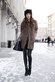 Young beautiful woman in stylish mink coat Royalty Free Stock Image