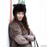Young beautiful woman in stylish mink coat Royalty Free Stock Photos