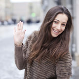 Young beautiful woman in stylish mink coat Royalty Free Stock Photography