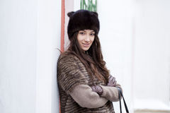 Young beautiful woman in stylish mink coat Stock Image