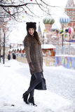 Young beautiful woman in stylish mink coat Stock Photos