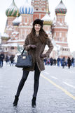 Young beautiful woman in stylish mink coat Royalty Free Stock Photo