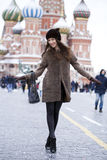 Young beautiful woman in stylish mink coat Royalty Free Stock Images