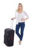 Young beautiful woman with suitcase isolated on white Stock Photography