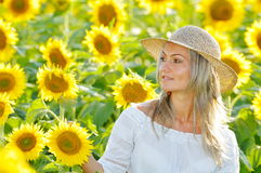 Young beautiful woman on sunflower field in summer Stock Photos
