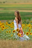 Young beautiful woman on sunflower field in summer Royalty Free Stock Photos