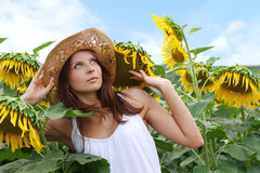 Young beautiful woman between sunflowers Royalty Free Stock Photography