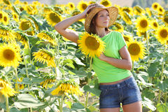 Young beautiful woman between sunflowers Stock Photos