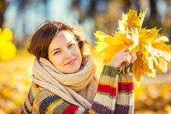 Young beautiful woman in sunny park Stock Image