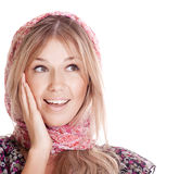 Young beautiful woman surprice. And looking on copyspace Stock Photo