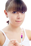 Young beautiful woman syringe Royalty Free Stock Photos