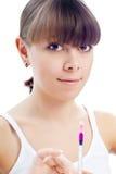 Young Beautiful Woman Syringe Royalty Free Stock Photos