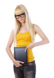 Young beautiful woman with tablet PC Stock Photos