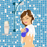 Young beautiful woman taking a shower Stock Photo