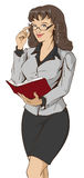 Young beautiful woman teacher holding open book. On white vector illustration Stock Photos