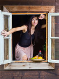 Young beautiful woman with tequila and citrus Royalty Free Stock Photo