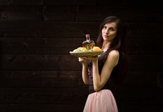 Young beautiful woman with tequila and citrus Royalty Free Stock Photos
