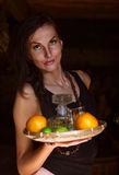 Young beautiful woman with tequila and citrus Royalty Free Stock Image