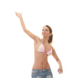 Young beautiful woman throwing something. Stock Photo